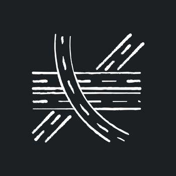 Multi level junction chalk white icon on black background