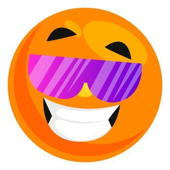 Emoji with sunglasses, illustration, vector on white background