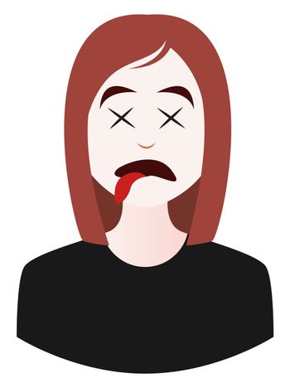 Dead girl emoji, illustration, vector on white background
