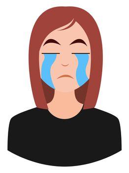 Crying girl emoji, illustration, vector on white background