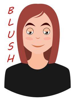 Girl blushing emoji, illustration, vector on white background