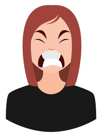Angry girl, illustration, vector on white background