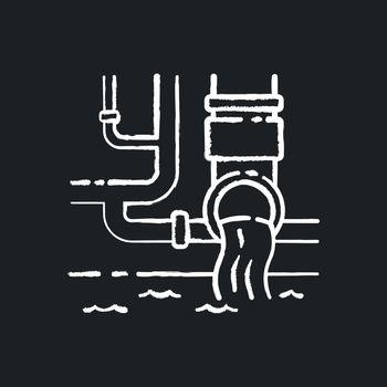 Water supply chalk white icon on black background