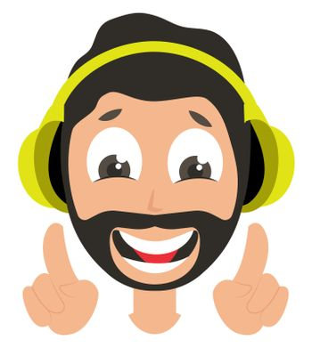 Man with headphones, illustration, vector on white background
