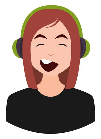 Girl with headphones, illustration, vector on white background