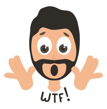 Shocked man emoji, illustration, vector on white background