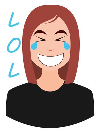 Girl laughing out loud, illustration, vector on white background