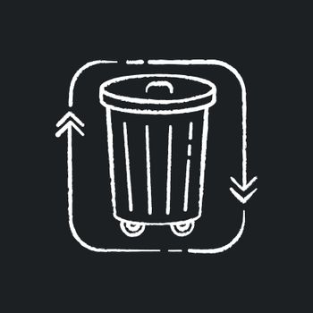 Waste disposal chalk white icon on black background