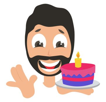 Man with birthday cake, illustration, vector on white background