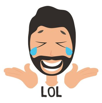 Man laughing out loud, illustration, vector on white background