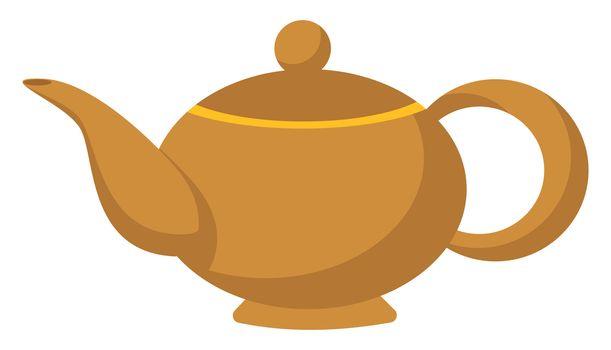 Golden kettle, illustration, vector on white background