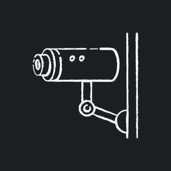 Video surveillance chalk white icon on black background