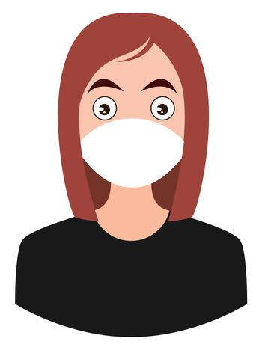 Girl with medical mask, illustration, vector on white background