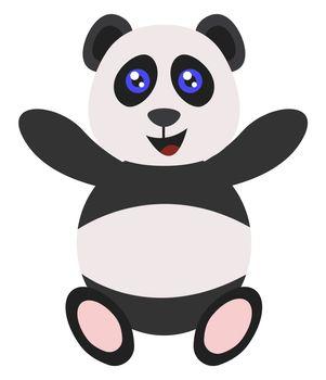 Happy panda, illustration, vector on white background