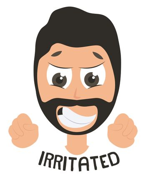 Irritated man, illustration, vector on white background