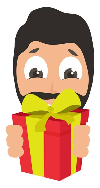 Man with birthday present, illustration, vector on white background