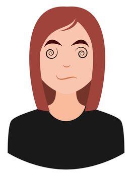 Dizzy girl emoji, illustration, vector on white background
