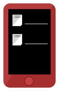 Red phone, illustration, vector on white background