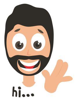 Man saying hi, illustration, vector on white background