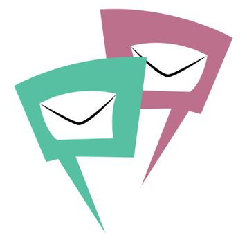 Mail chats, illustration, vector on white background