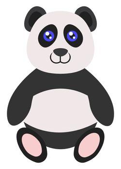 Panda sitting, illustration, vector on white background