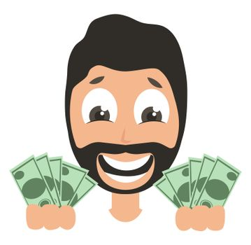 Man with money, illustration, vector on white background