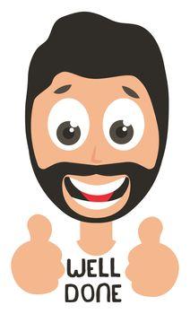 Man well done emoji, illustration, vector on white background