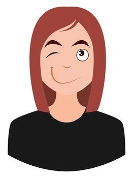Winking girl, illustration, vector on white background