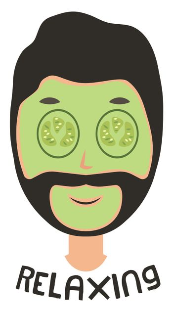 Man with mask on face, illustration, vector on white background