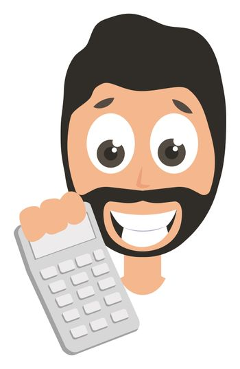 Man with calculator, illustration, vector on white background