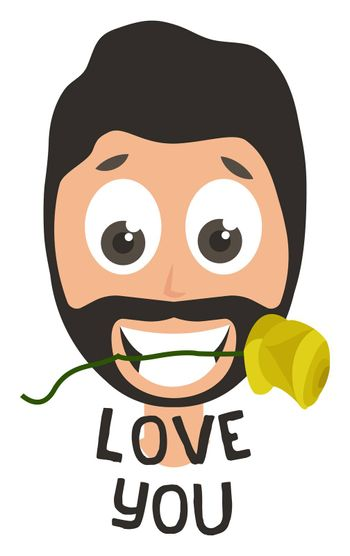 Man with rose in mouth, illustration, vector on white background