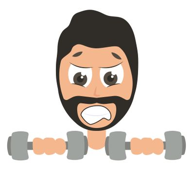 Man lifting weights, illustration, vector on white background