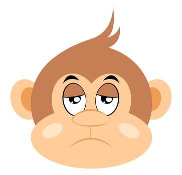 Bored monkey, illustration, vector on white background