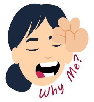 Worried girl, illustration, vector on white background