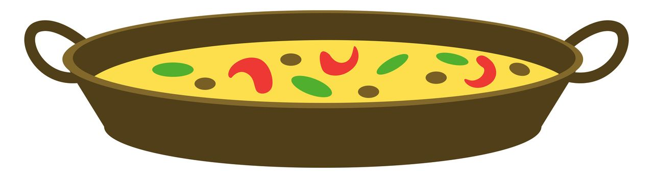 Pan with food, illustration, vector on white background