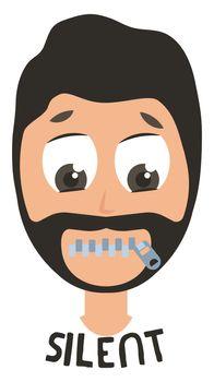 Silent man emoji, illustration, vector on white background