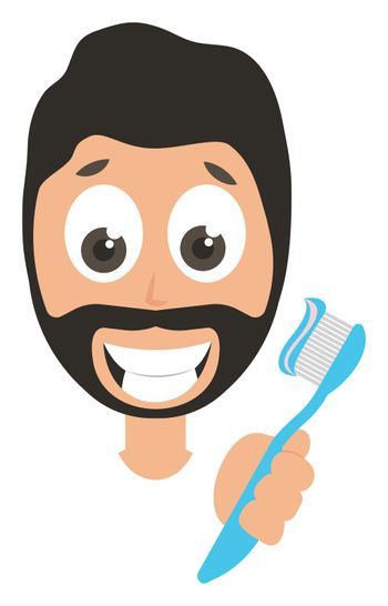 Man with toothbrush, illustration, vector on white background