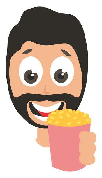 Man with popcorn, illustration, vector on white background