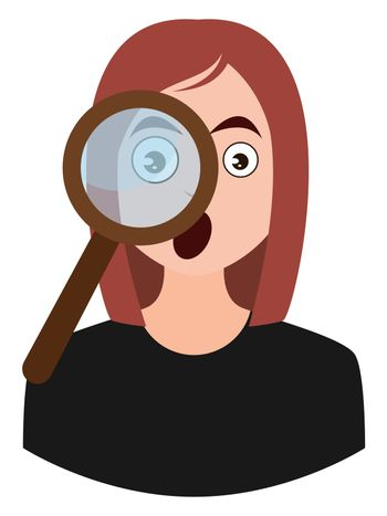 Girl with magnifying glass, illustration, vector on white background