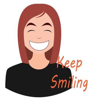Smiling girl emoji, illustration, vector on white background