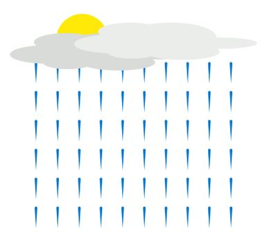 Rain from cloud, illustration, vector on white background