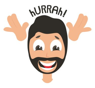Happy man emoji, illustration, vector on white background