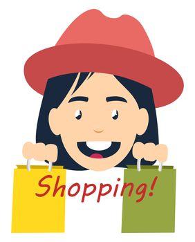 Girl shopping, illustration, vector on white background