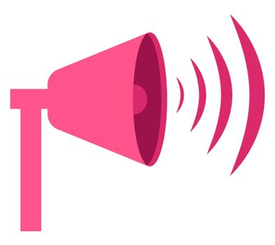 Pink megaphone, illustration, vector on white background
