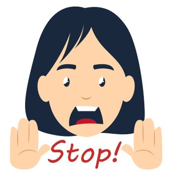 Girl saying stop, illustration, vector on white background