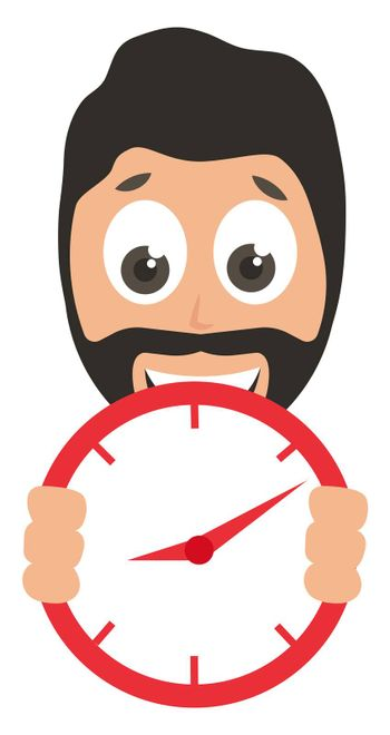 Man with red clock, illustration, vector on white background