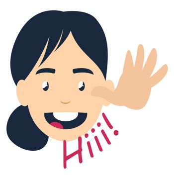 Girl saying hi, illustration, vector on white background