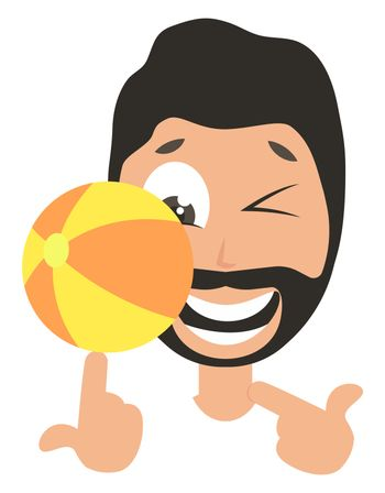 Man with beach ball, illustration, vector on white background