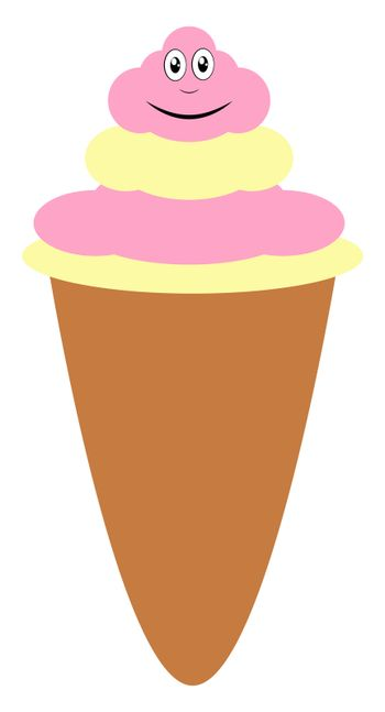 Ice cream in cornet, illustration, vector on white background
