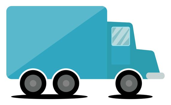 Blue truck, illustration, vector on white background